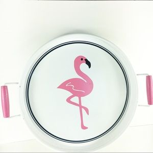Other - Flamingo Tray Pink White With Navy Stripe